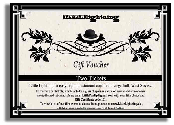 Sample Gift Voucher for two tickets to any Little Lightning event.