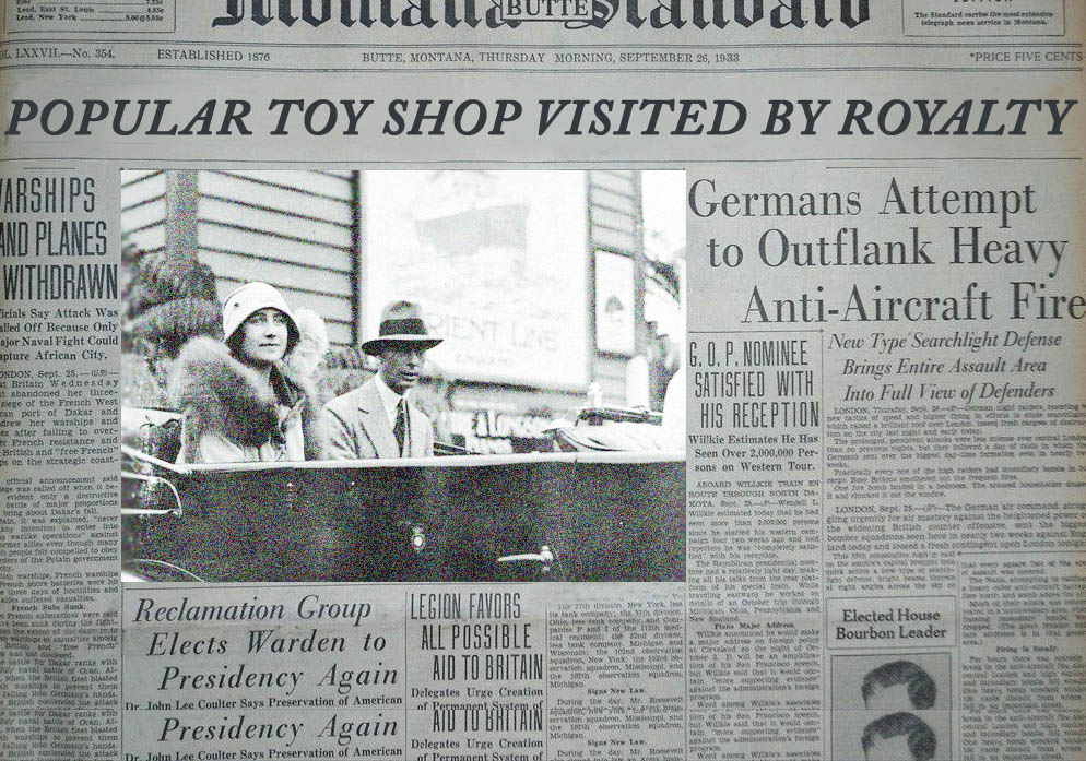 Popular toy shop visited by royalty. Oct 22 1933 - In a surprise stop off as part of their tour of South London the Duke and Duchess of York dropped in  at Peckham's best known toy shop. The former Ms Elizabeth Lyons was delighted at the range of dolls and found for her eldest daughter as well as a wonderful German teddy for the youngest, Margaret Rose. The delighted Duchess was quoted as saying that Peckham had helped solved all her Christmas dilemmas.
