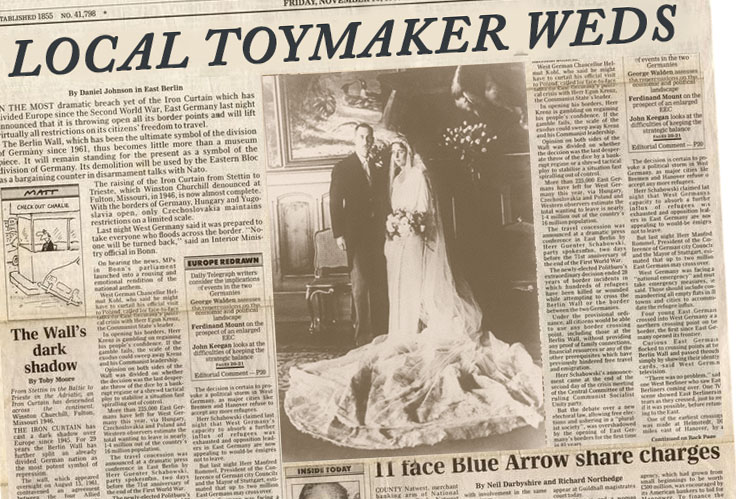"Local Toymaker weds. June 15th 1936 - The toymaker, who  inherited the shop in 1926, has married his French wife Estelle in a ceremony at Peckham Rye Lane Chapel near to the shop. The pair met in Lille at the  annual toy fair held in that city.An aunt of the toymaker was quoted as saying ""Who'd have thought after all those years of bringing toys back that he'd return with his own doll!""The blushing bridegroom announced that in honour of their union the popular shop on Rye Lane would be renamed ""Jeux sans frontiers."
