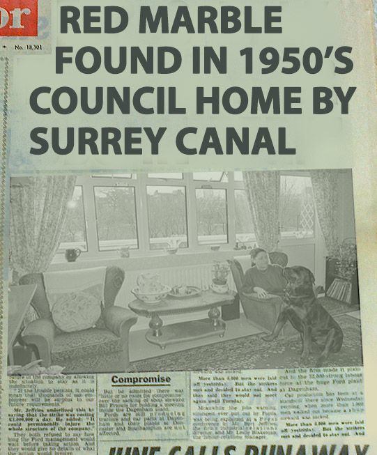 Red marble found in maisonette by Surrey canal February 22 1962 - Mrs Amanada Bean reported finding strange marbles in her flat for the third time in as many weeks.