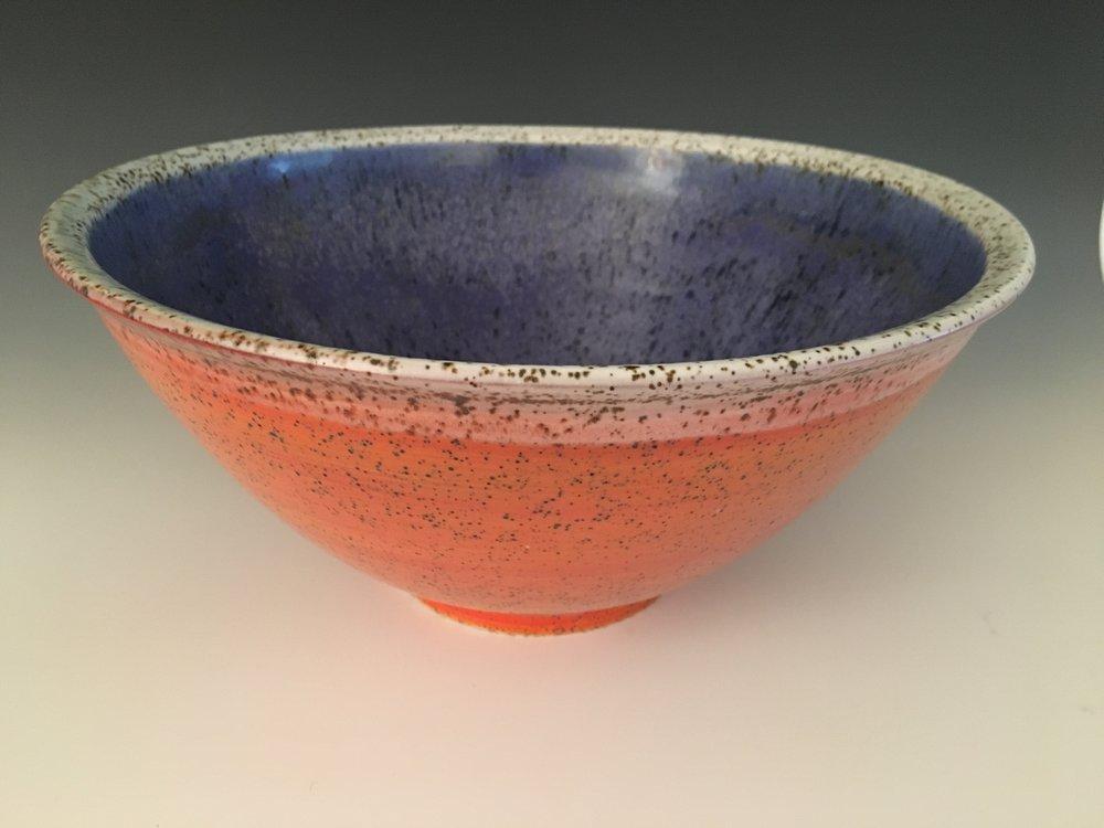 Large Orange Salad Bowl with Cobalt Interior