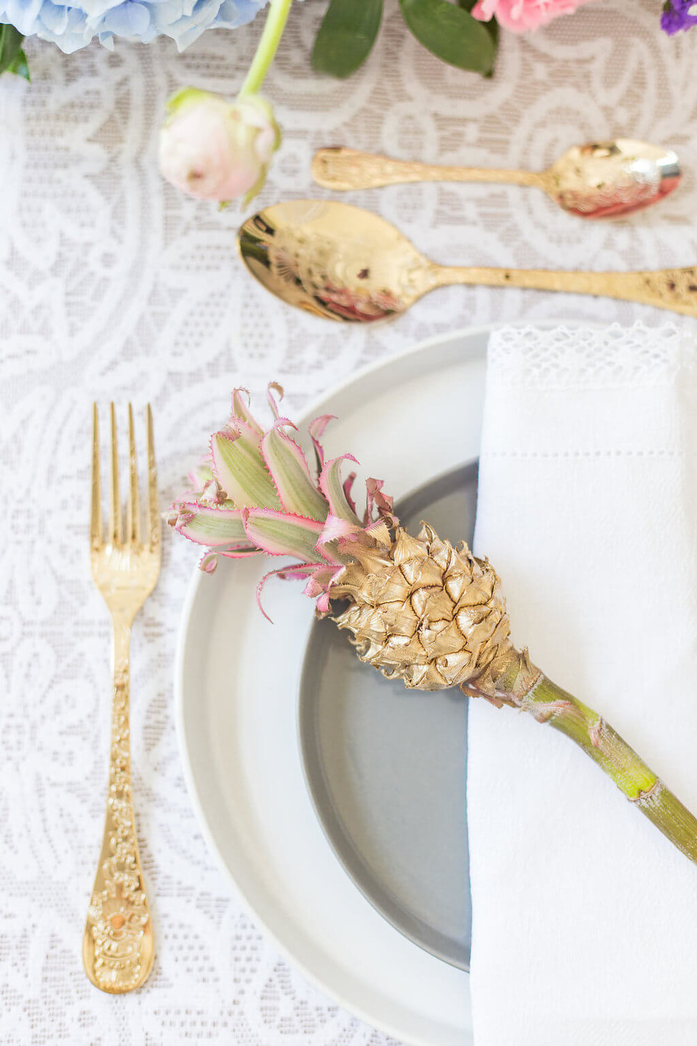 On Cloud Bloom - golden pineapple table setting 3