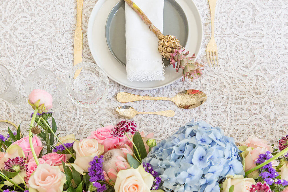 On Cloud Bloom - golden pineapple table setting 6