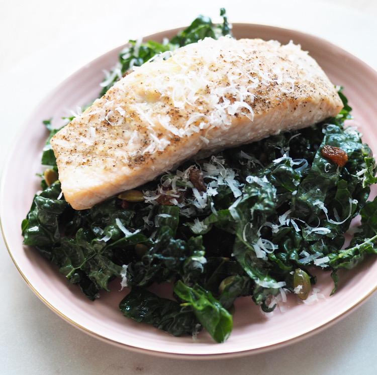Tuscan Kale Salad + Grilled Salmon