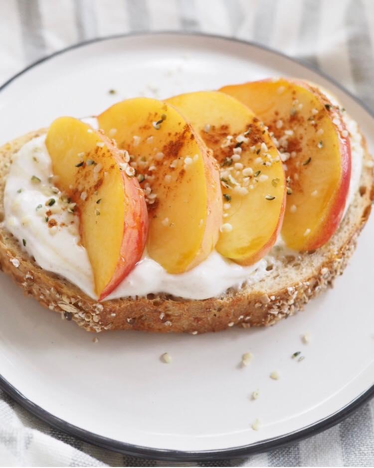 Peaches & Cream Sourdough Toast - Kris Gill