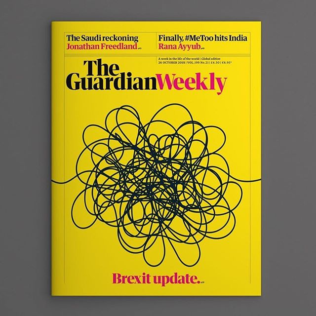 Good design always conveys a story accurately.  #Repost @chrisclarkecc ・・・ 'Do a cover that clearly articulates where we are with Brexit...' _____________________ Urm... sure. ✅  _____________________ Issue three of the #guardianweekly — #Brexit update.  _____________________ Design with Art director @pieshopdesigns | Editor @willydean . . . . . . #design #creativedirection #storytelling #artdirection #artdirector #brexit #guardian #guardianweekly