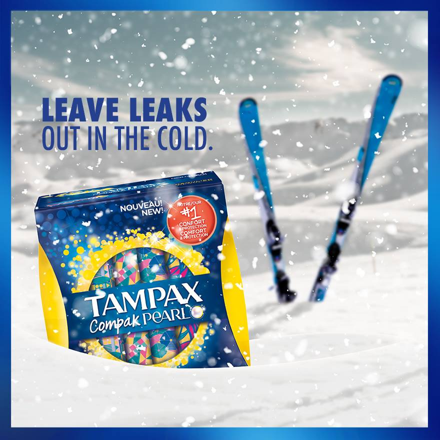 Tampax Compak Pearl is your mountain must-have for a leak-free ski trip. 🗻❄️🎿 #PowerOverPeriods