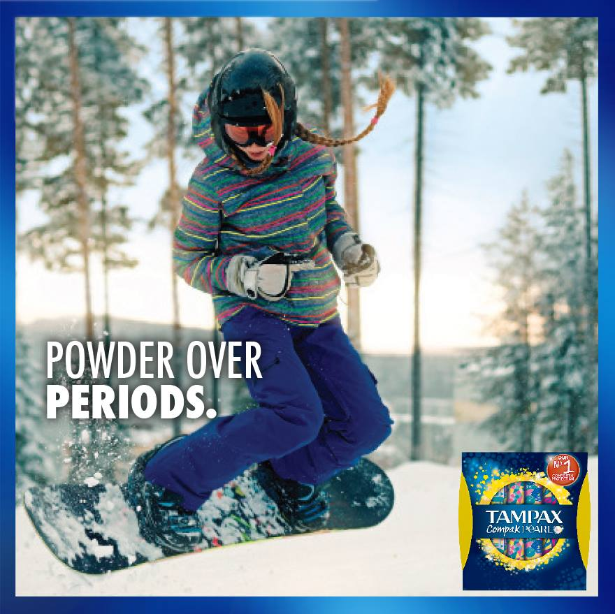 With Tampax Compak Pearl's superior protection, leaks are going downhill. ❄️🏂 #PowerOverPeriods