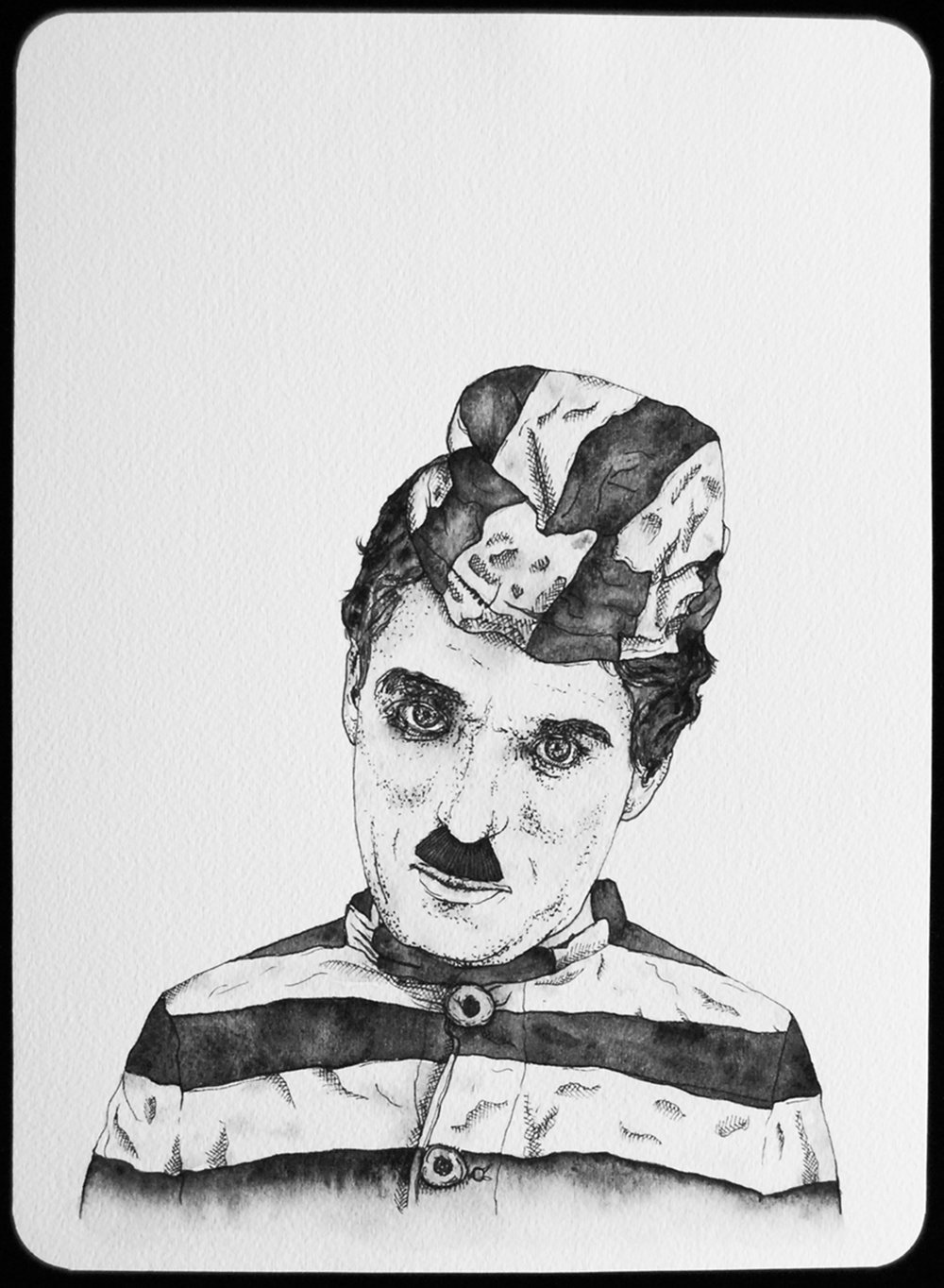 Charlie Chaplin, The Adventurer, 1917 Prison stripes were immortalized in early Hollywood films, 2011  |  11 x 8 inches  |   archival ink and gouache on paper