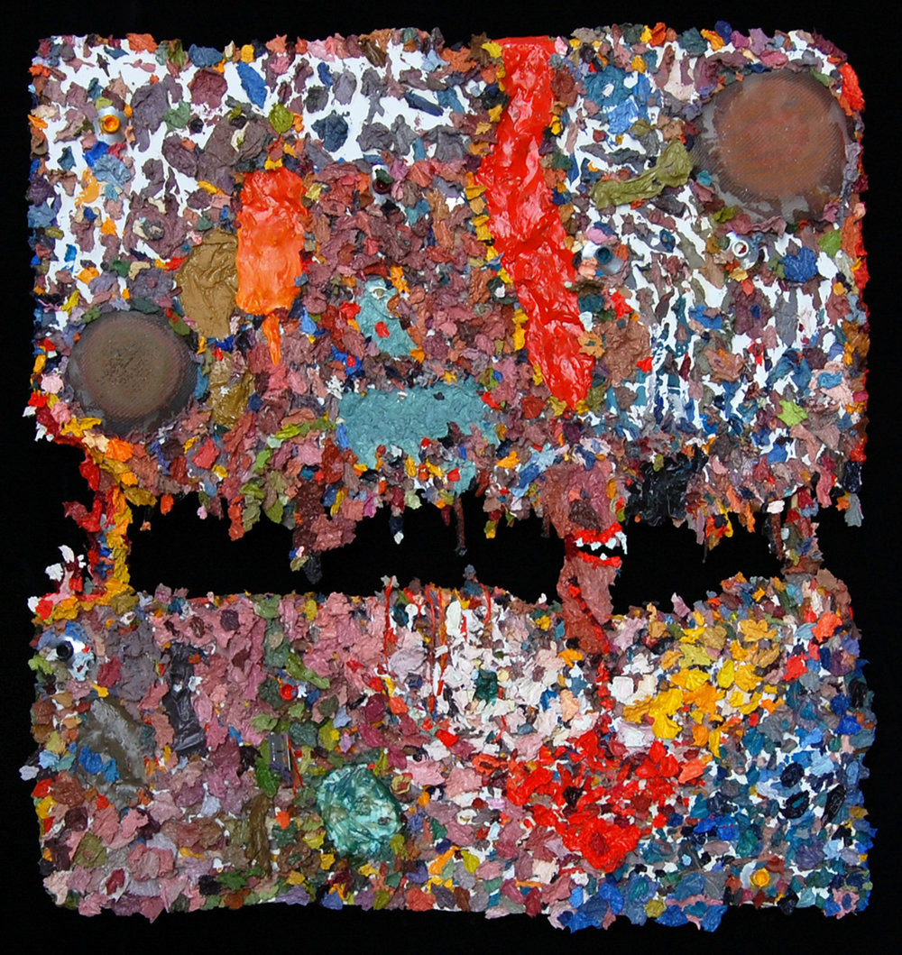 AP I (Face), 2008  |    36 x 36 inches  |  oil and mixed media on sheetrock
