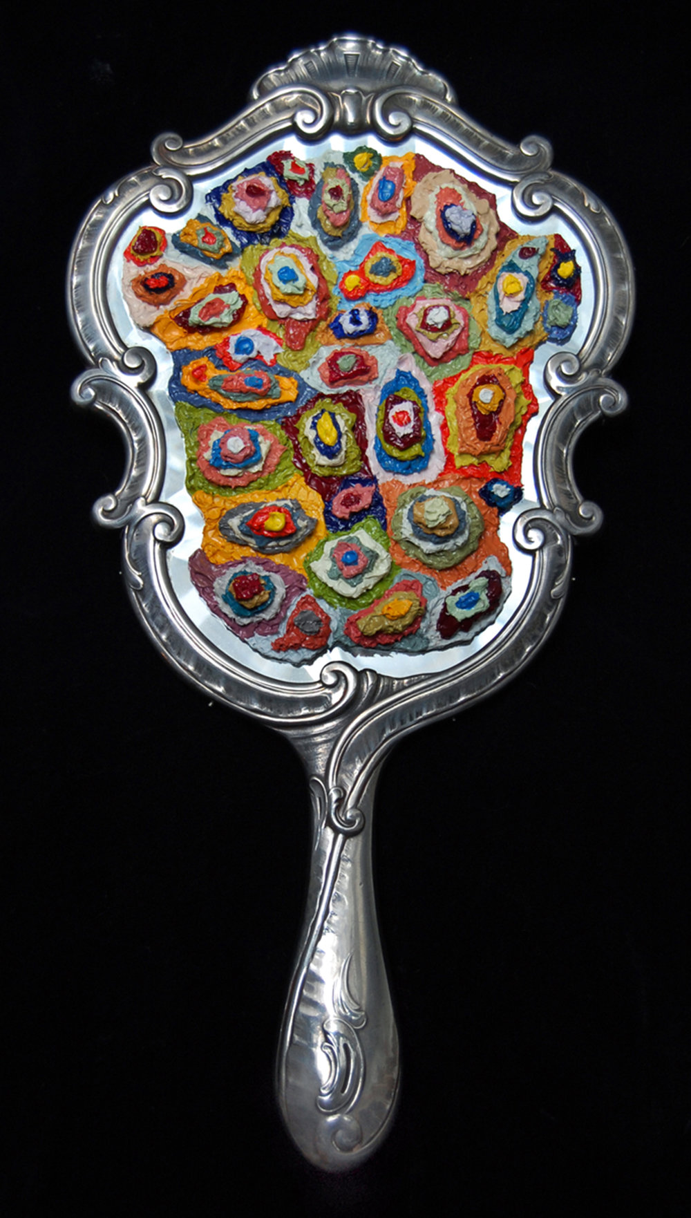 AP VIII (Reflection), 2009  |   12 x 6 inches  |  oil on Sterling silver hand-mirror (circa 1860)