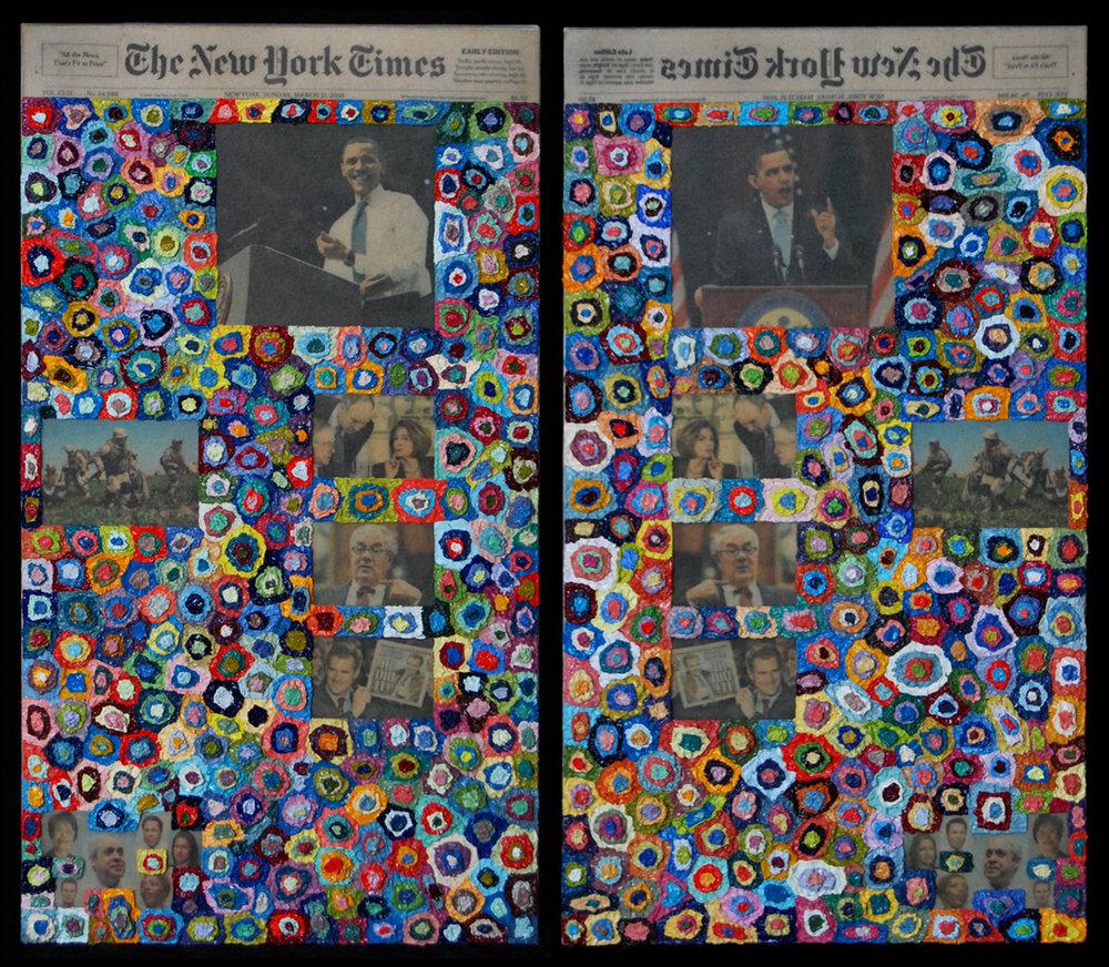AP XVI (Factum I, Factum II), 2010  |  22.25 x 12 inches each  |  oil and transfer on canvas