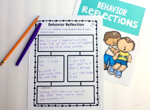 Behavior Reflections that help students to process their actions - Poet Prints Teaching