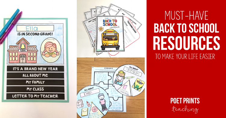 Back to school resources for the first week back in third grade - Poet Prints Teaching