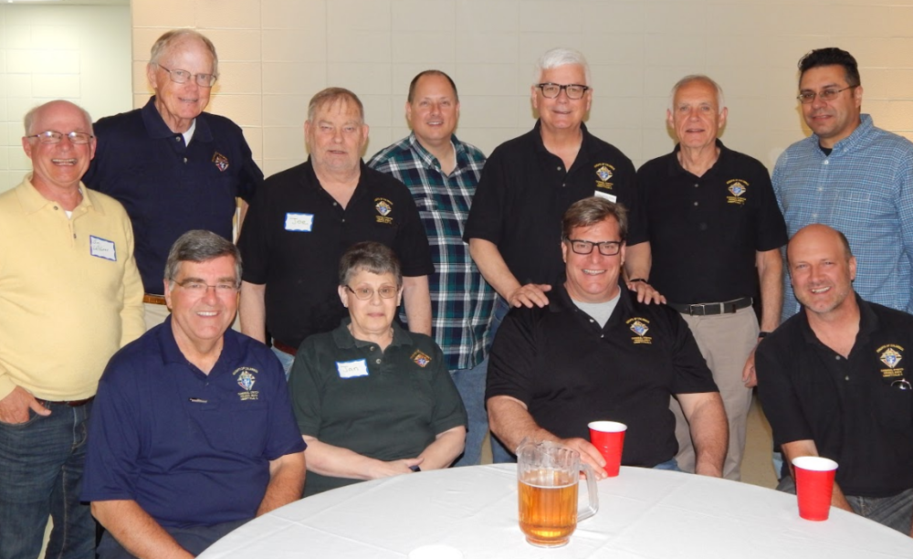 Here are our Brother Knights back row: Jim Leffelman, Gene O'Brien, Joe Graham, Victor O'Block, Dan Love, Ron Hodapp, Gerardo Cardenas, and front row: Kevin Sullivan, Jan Graham (wife of Joe), Mark Hobson and Frank Paveleske