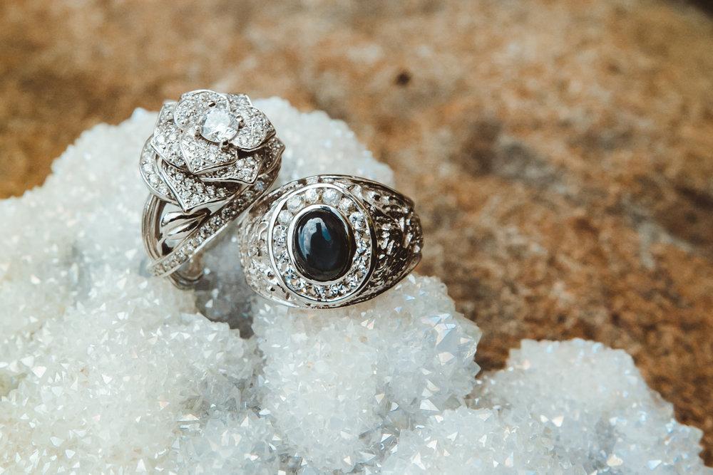 Rose shaped diamond engagement ring
