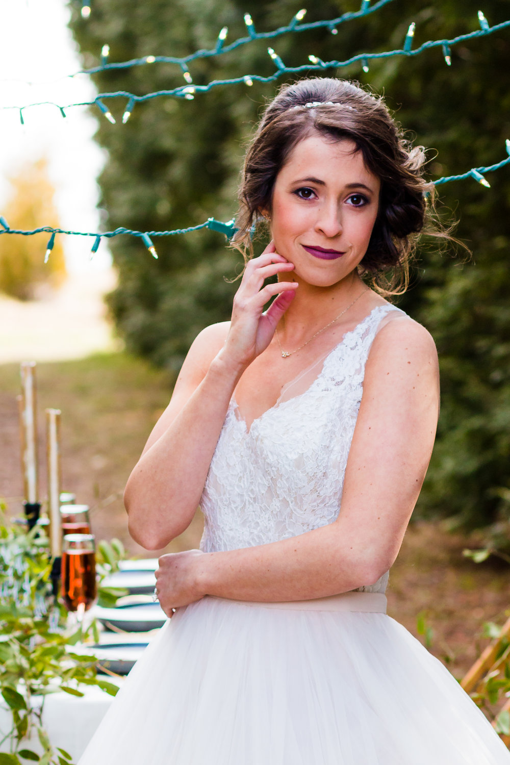 Wedding Photography portrait of a bride at Whitetail Tree Farm in Springport, Indiana.