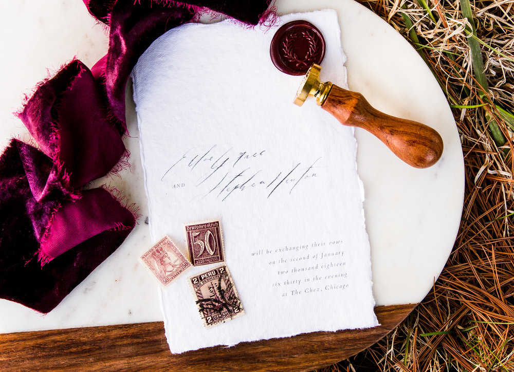 Wedding invitation at Whitetail Tree Farm in Springport, Indiana.