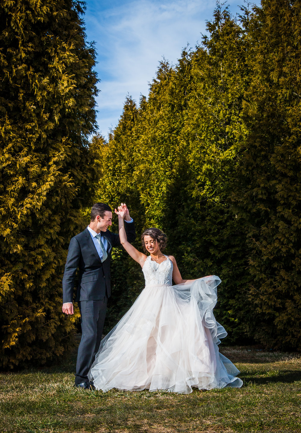 Bride and Groom at Whitetail Tree Farm in Springport, Indiana.