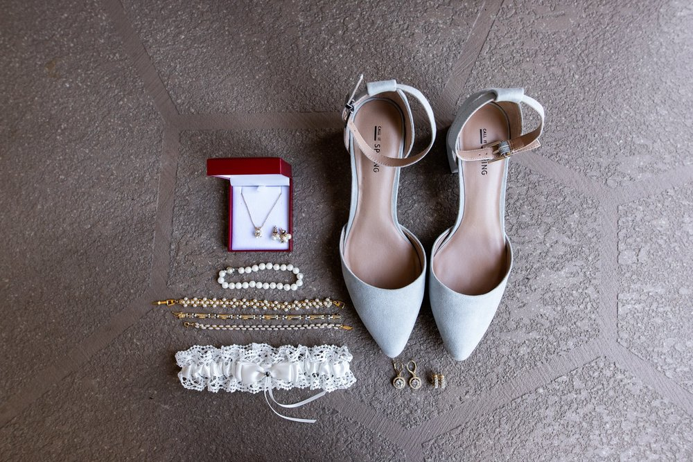 Wedding details, blue suede shoes