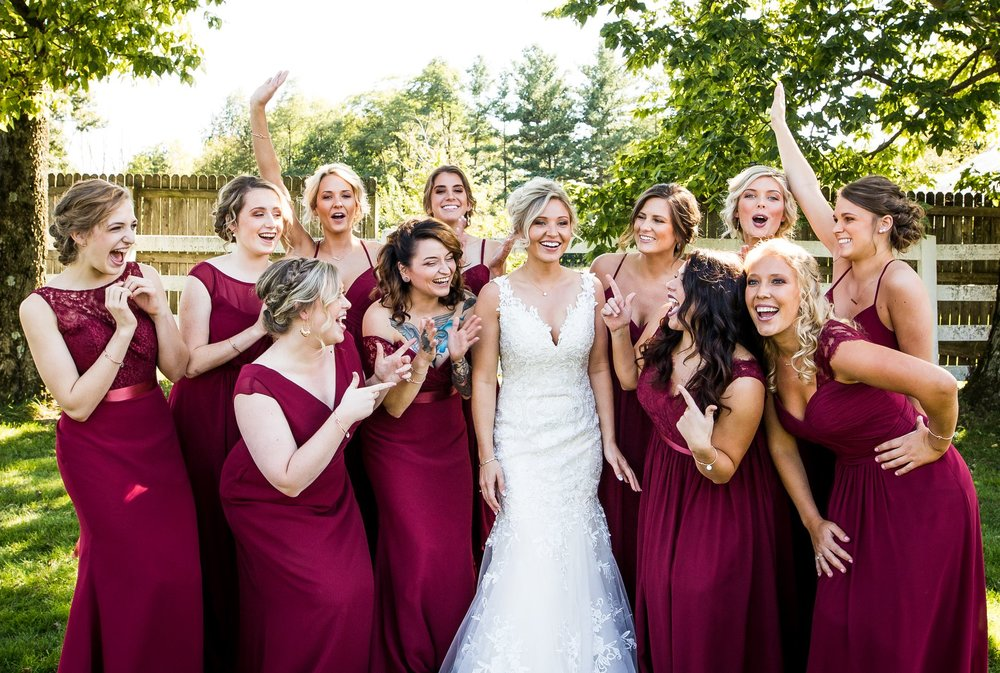 Bridesmaids having fun and cheering in New Castle, Indiana