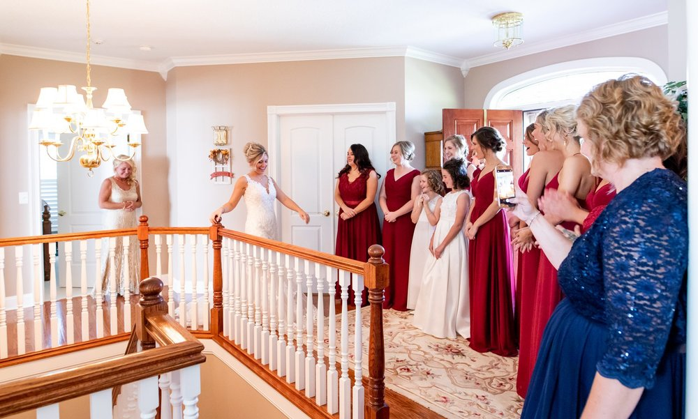 Dress reveal before the wedding at the Henry County Arts Park in New Castle, Indiana