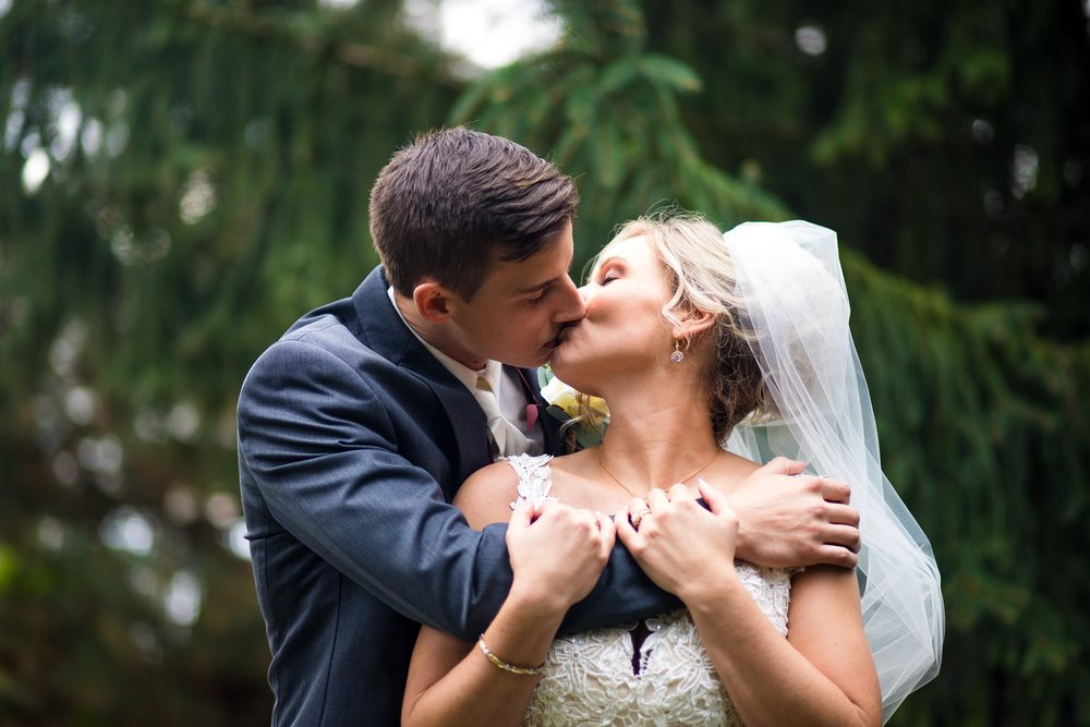 Bride and Groom Portrait at the Henry County Arts Park in New Castle, Indiana