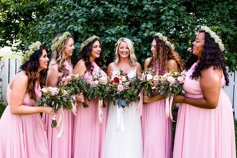 Wedding Party in Pink Dresses with Floral Crowns
