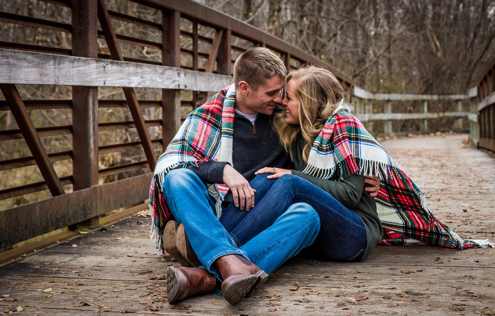 Engagement Session on bridge in Pendleton, Indiana