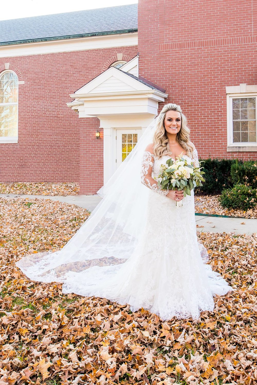 Bridal portrait outdoors in Fishers, Indiana