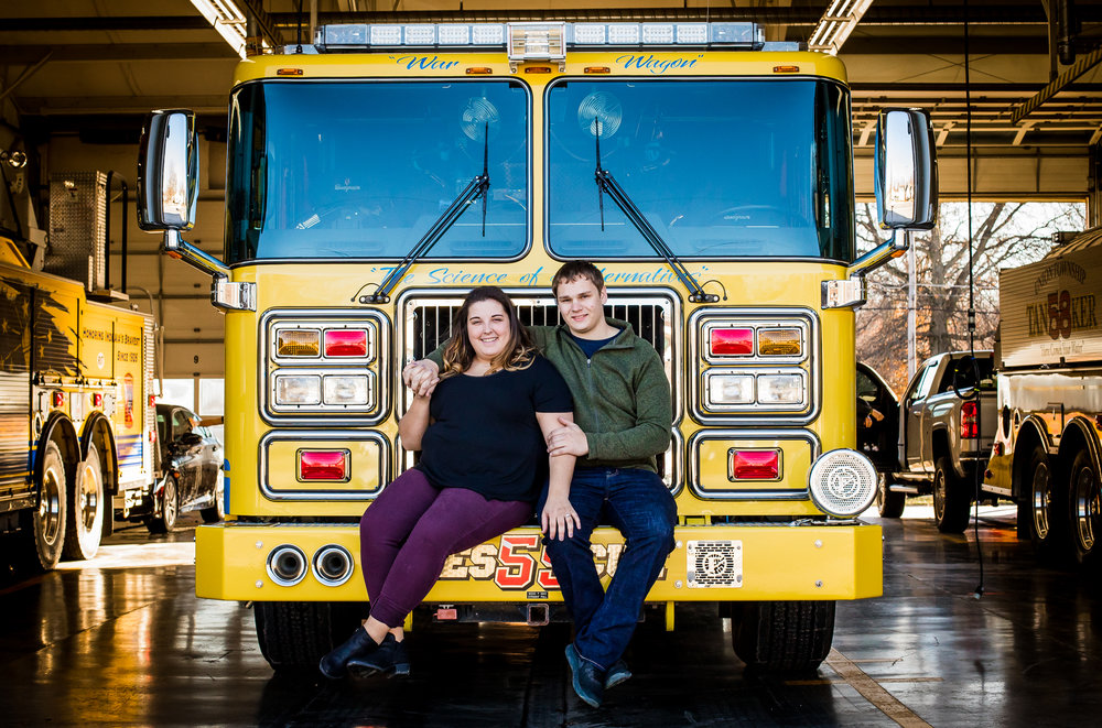 Fire station engagement session photo