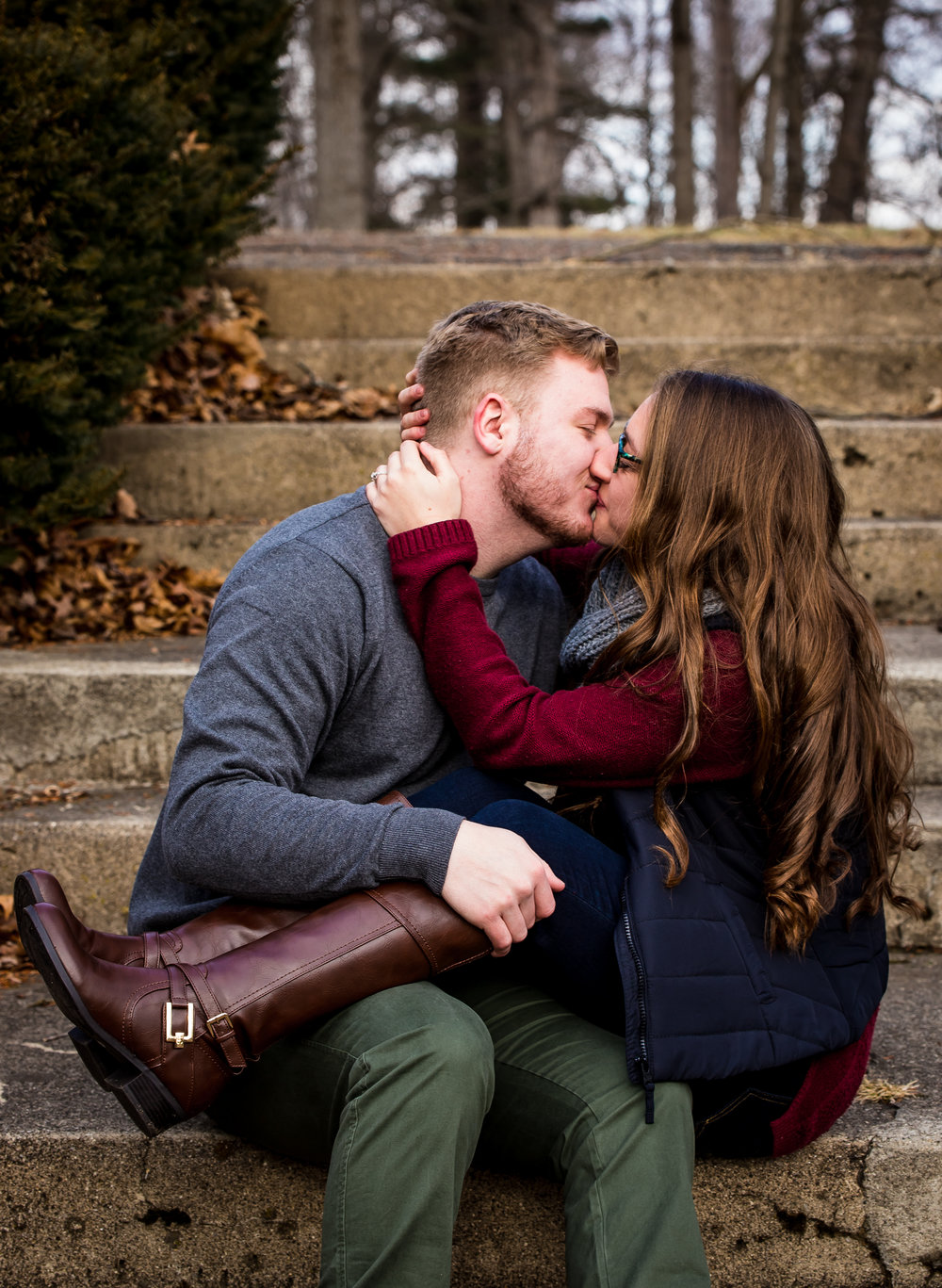 Engaged Couple at Henry County Memorial Park in New Castle, Indiana