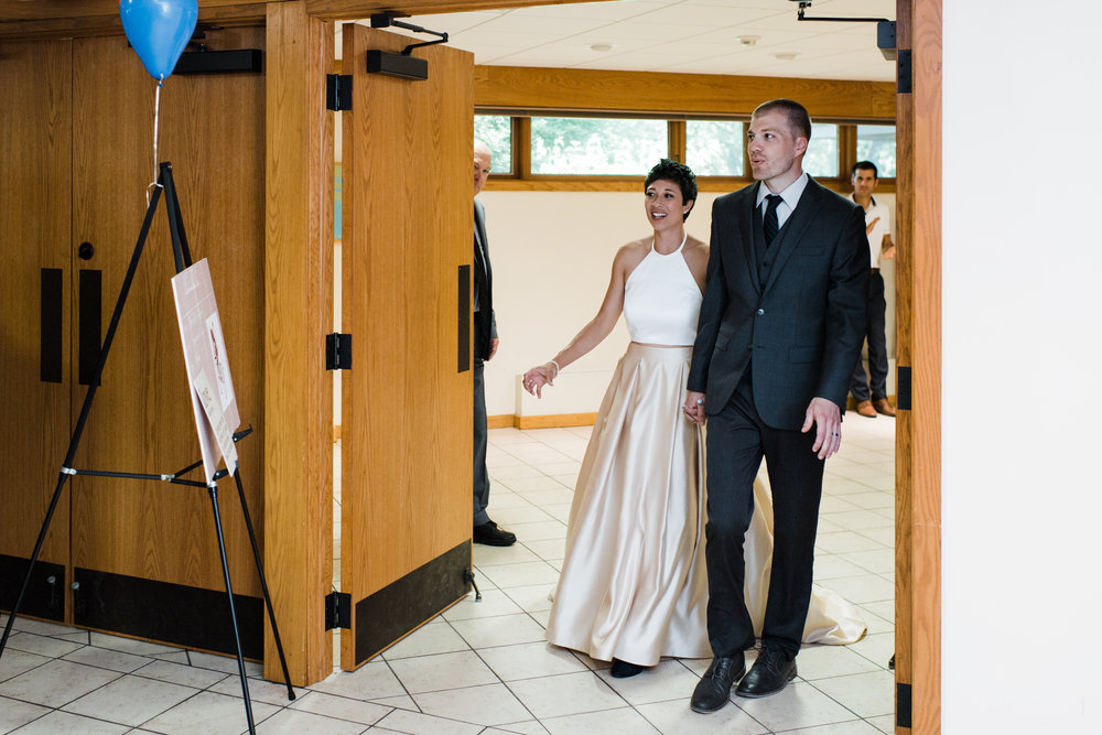 Bride and groom make their grand entrance.