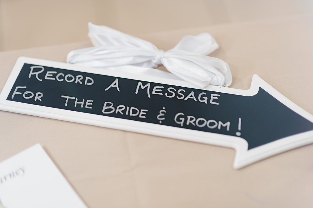 Record a message for the bride and groom chalkboard sign.