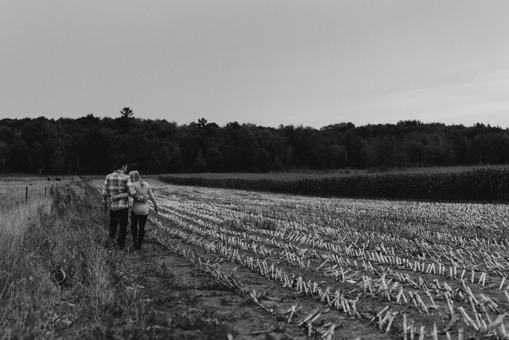 Engaged couple walks with arms around each other through a harvested cornfield.