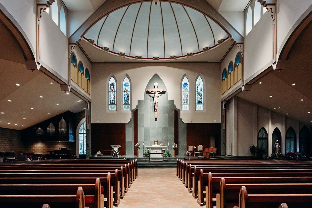 Interior view of St. Michael Catholic Church in Wheaton, IL