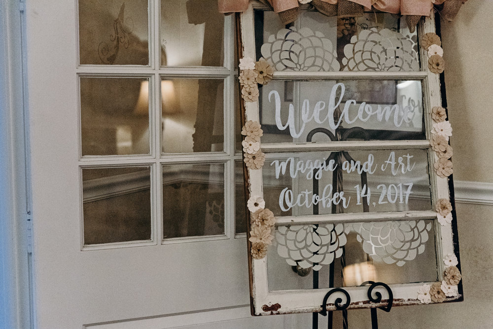 Welcome sign for wedding reception