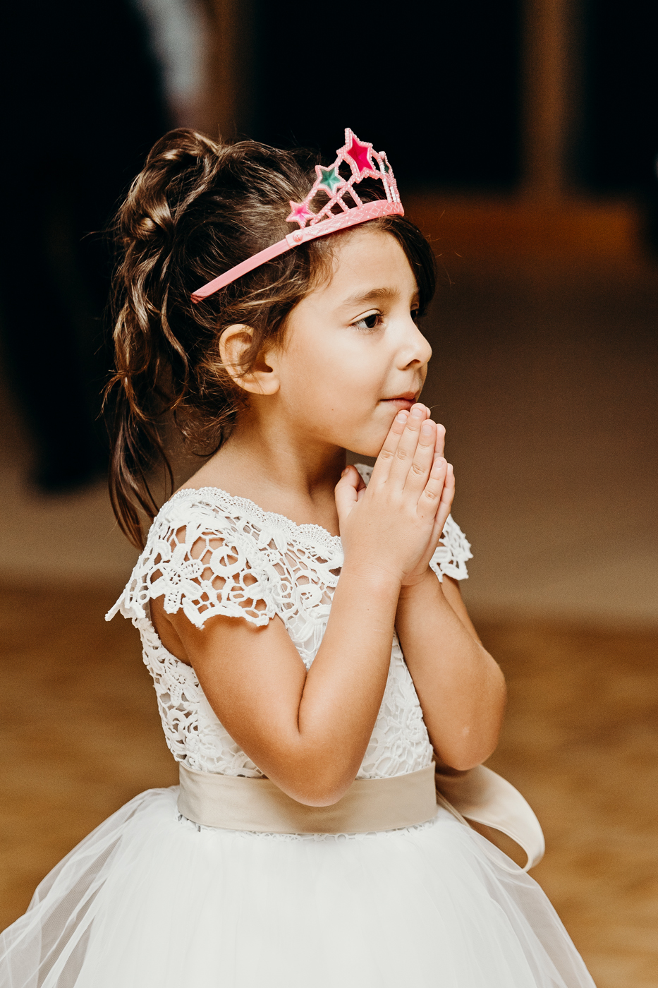 Flower girl watches first dance in awe