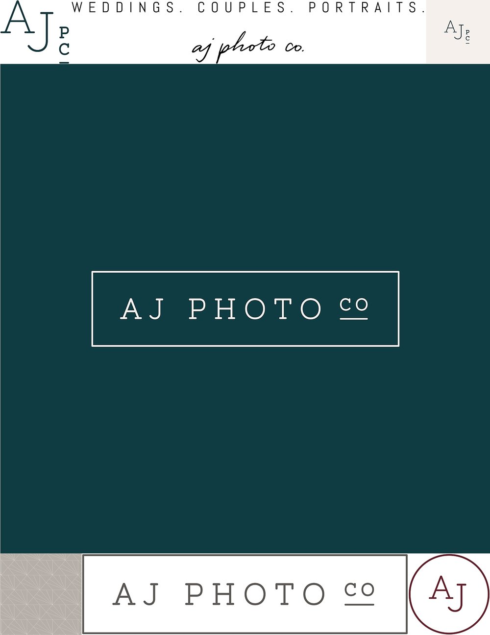 Logos and branding for AJ Photo Company, photographer in Sun Prairie, WI