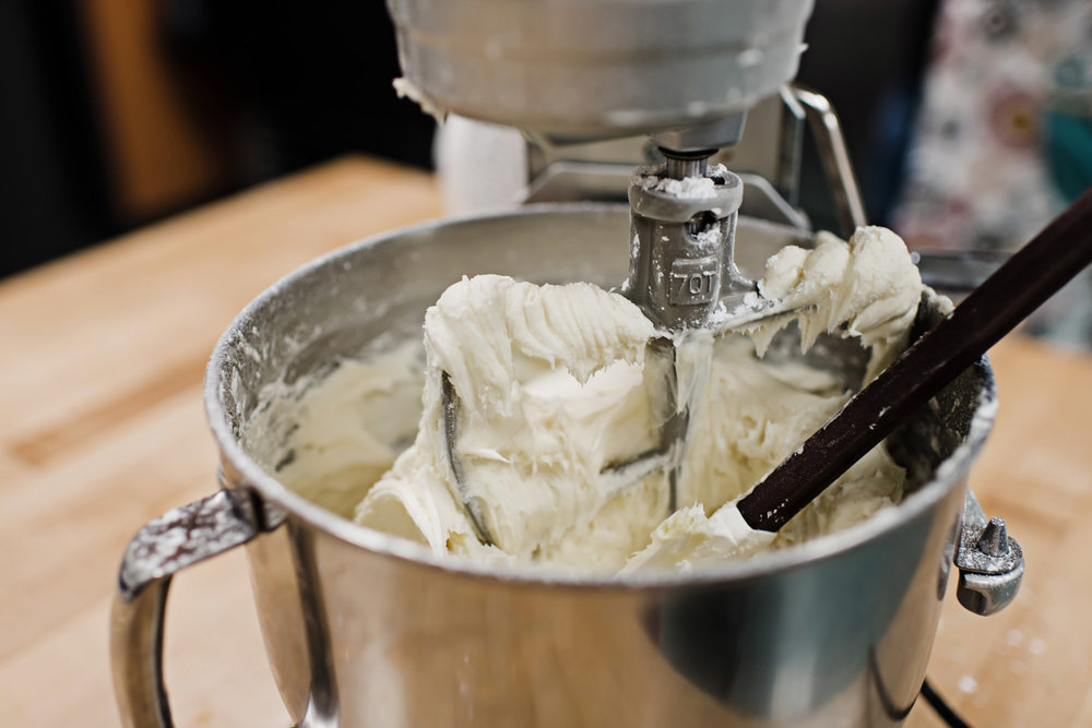 Cupcake frosting in a mixing bowl