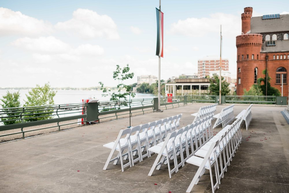 Chairs lined up outside the Memorial Union Terrace in downtown Madison, Wisconsin