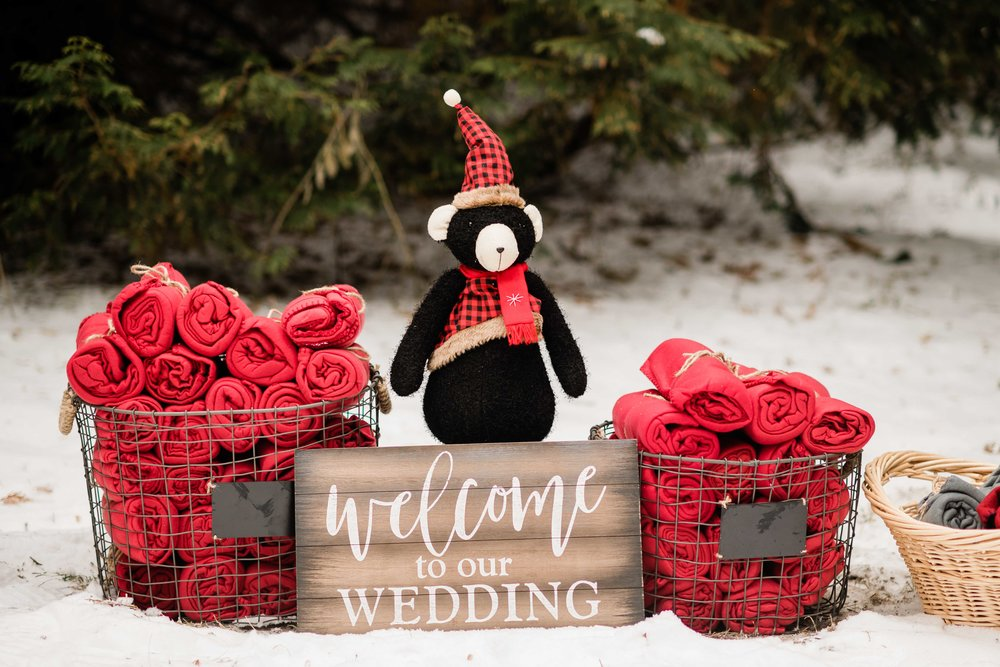 Welcome to our wedding sign and blankets for outdoor winter wedding