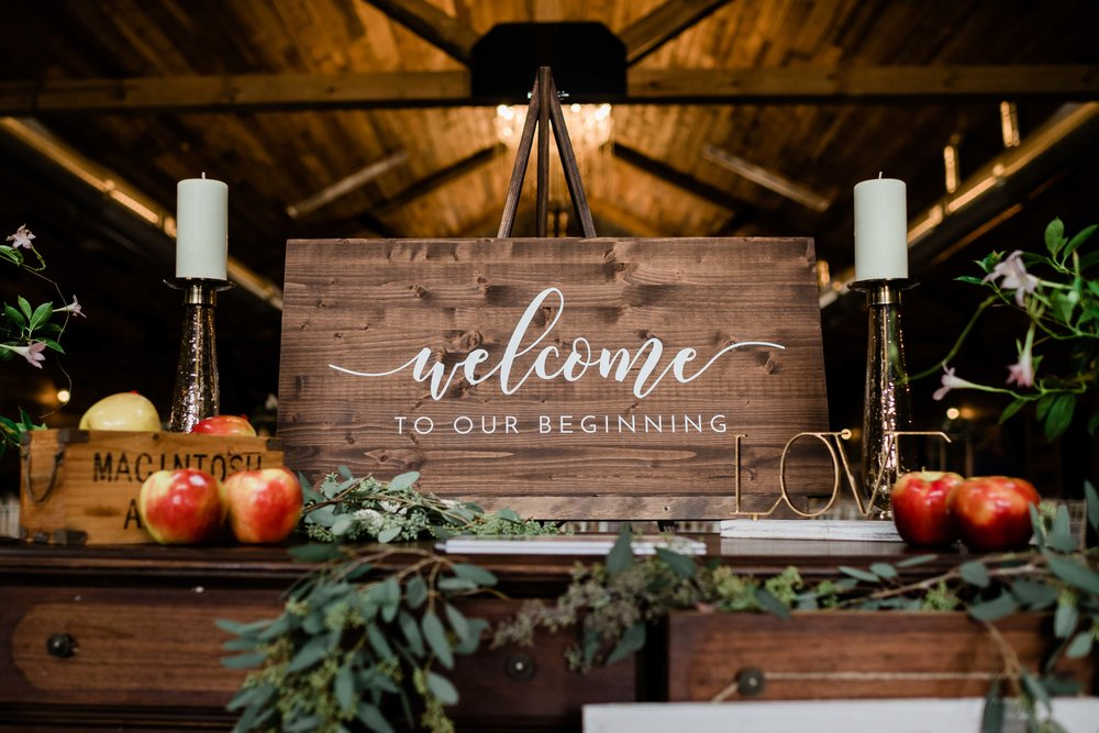 Welcome to our wedding reception sign