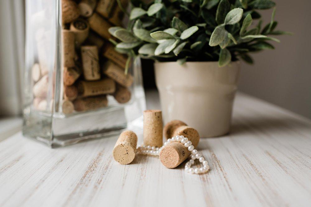 Pearls on wine corks