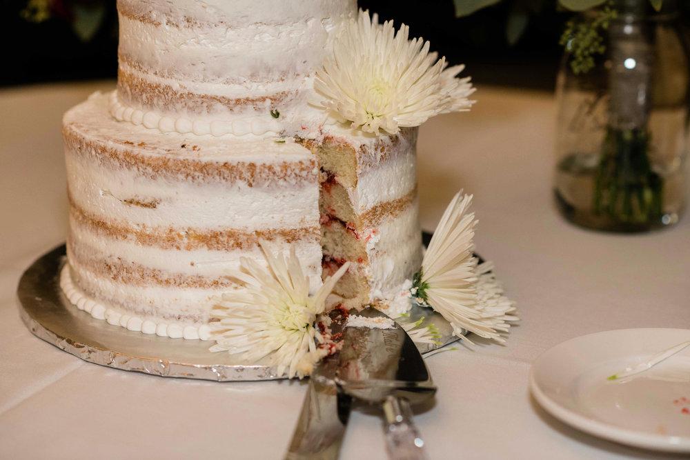 Wedding cake after cake cutting