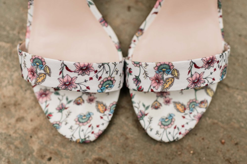 Floral bridal shoes