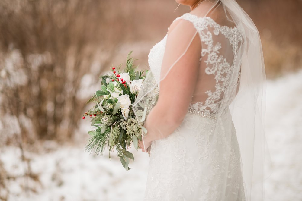 Bride holding her bouquet outside in winter