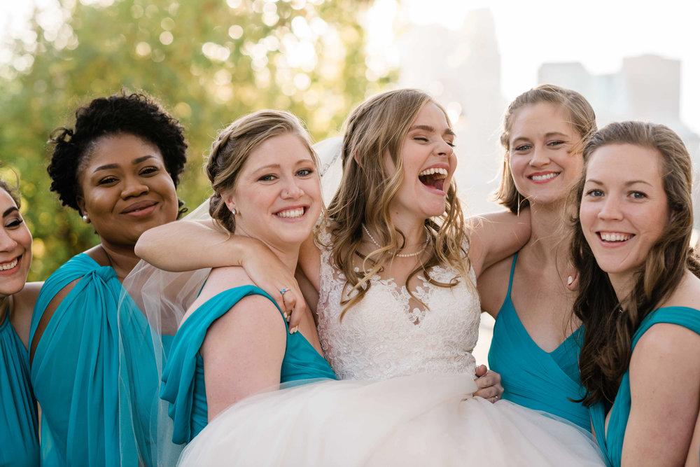 Bridesmaids pick bride up