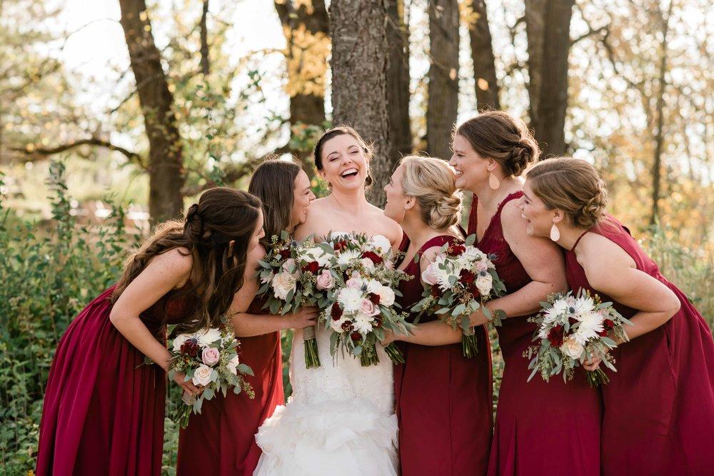 Bridesmaids admiring the bride