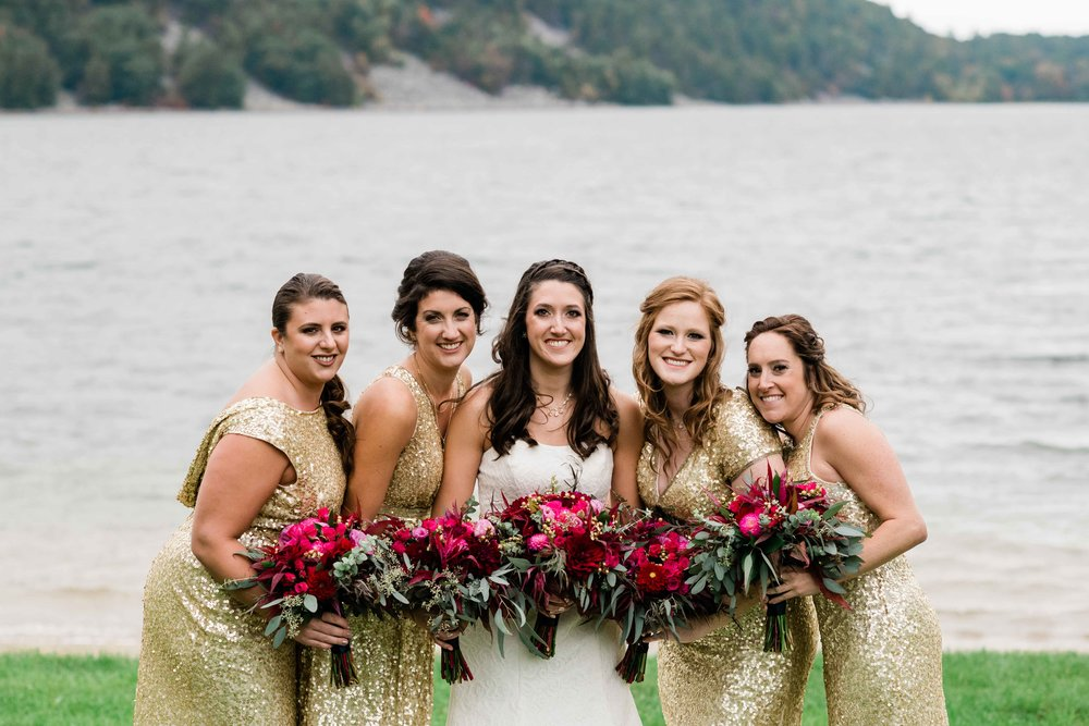 Bride and bridesmaids at Devil's Lake State Park in Baraboo, Wisconsin